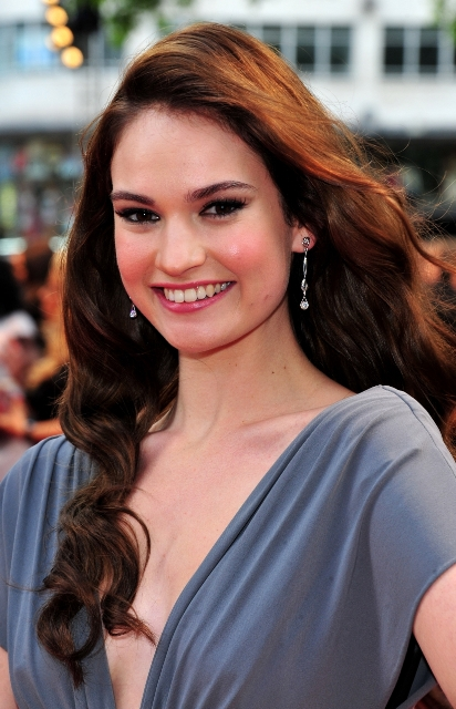 The 28-year old daughter of father (?) and mother(?), 165 cm tall Lily James in 2017 photo